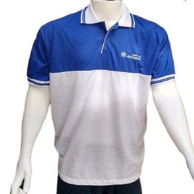 Galeon Brindes e Embalagens Promocionais - Camiseta polo masculina com recorte e braçadeiras personalizadas.