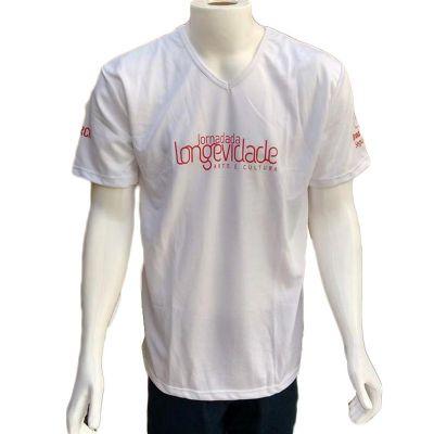 Galeon Brindes e Embalagens Promocionais - Camiseta dry fit unissex com decote em gola V.