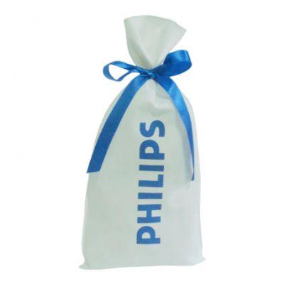galeon-brindes-e-embalagens-promocionais - Saco personalizado em TNT branco- Medidas: 20 x 40 cm, com fita solta.