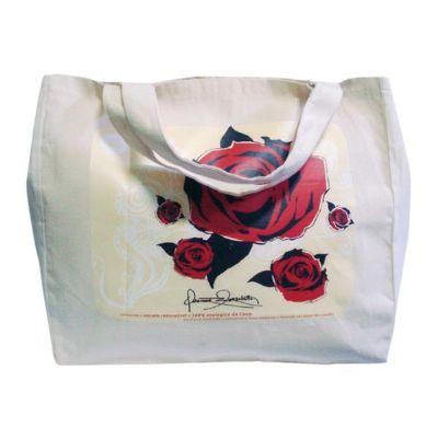Sacola personalizada em algodão - Medidas: 35 x 38 x 15 cm, com duas alças estampadas com transfer. - Galeon Brindes e Embalagens Pr...