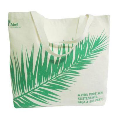 Galeon Brindes e Embalagens Promocionais - Sacola personalizada em algodão cru - Medidas: 38 x 33 x 9 cm, com 2 alças em gorgurão cru.
