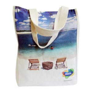 galeon-brindes-e-embalagens-promocionais - Sacola personalizada em algodão cru - Medidas: 30 x 40 x 8 cm, com 2 alças silk em transfer.