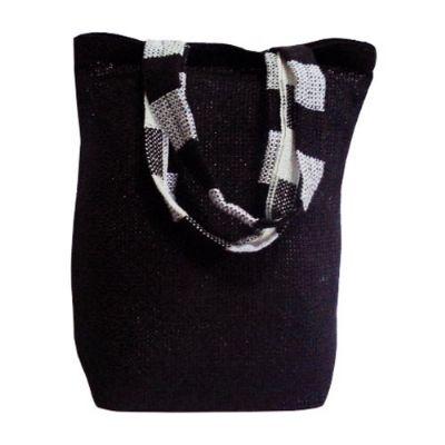 Galeon Brindes e Embalagens Promocionais - Sacola personalizada em juta sintética preta - Medidas: 30 x 39 cm x 8 cm, e alças em tecido Xadrez.
