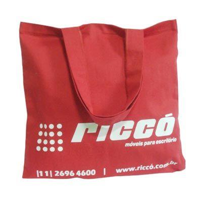 galeon-brindes-e-embalagens-promocionais - Sacola personalizada em sarja vermelha - Medida: 36 x 36 cm, com 2 alças.