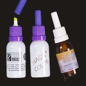 Tinta Mágica - Caneta marca texto com modelo de frasco de remédio.