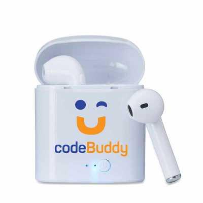 Plus Brindes - Air Fone personalizado bluetooth, feito em plástico com case carregador. Para utilização do produto, pressione e segure o botão lateral de ambos fones...