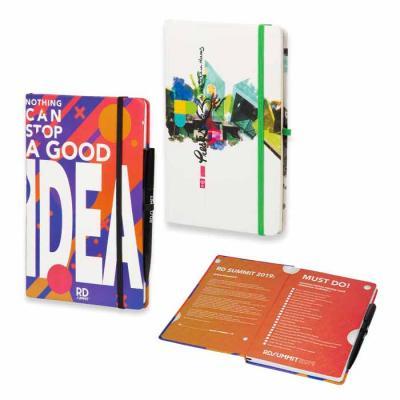 Caderneta tipo italiana personalizada com folha de rosto. Caderno customizado com capa com 4 core...