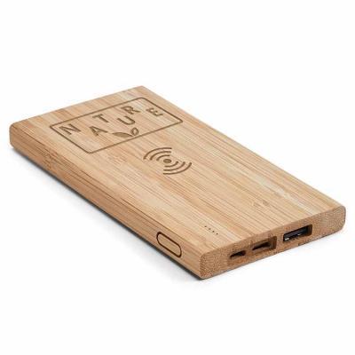 Power bank personalizado de indução, com corpo feito de bambu. Bateria portátil personalizada de ...
