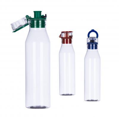 - Squeeze plástico transparente com capacidade de 800 ml com tampa rosqueável colorida e acionamento por click. Alça para melhor transporte.