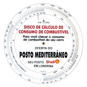 trident - Disco de cálculo de consumo de combustível.