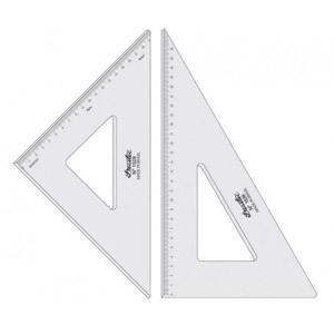Régua com esquadro de acrílico e escala