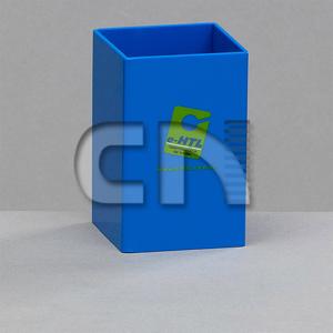 CN Acrilycs - Porta caneta personalizado em poliestireno azul.