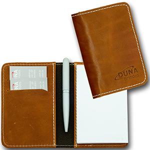 Bloco de anotações confeccionado em couro legítimo, couro sintético ou couro ecológico