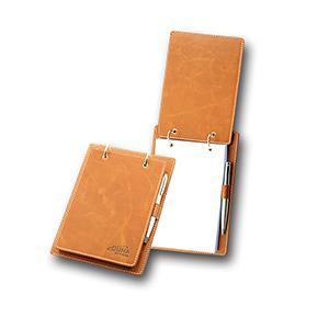 Porta-bloco confeccionado em couro legítimo, sintético ou ecológico