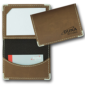 duna-brindes - Porta-cartões confeccionado em couro legítimo, sintético ou ecológico