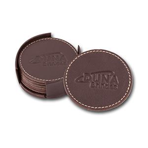 Duna Brindes - Conjunto contendo 6 porta-copos confeccionado em couro legítimo, sintético ou ecológico
