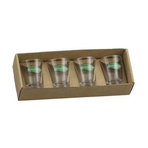 kit personalizado com 4 copos dose - Embalagem em kraft.