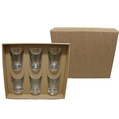 dumont-abc - Kit xícaras de café de vidro com embalagem de papelão kraft.