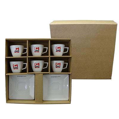 Kit com 6 xícaras de café quadrada.
