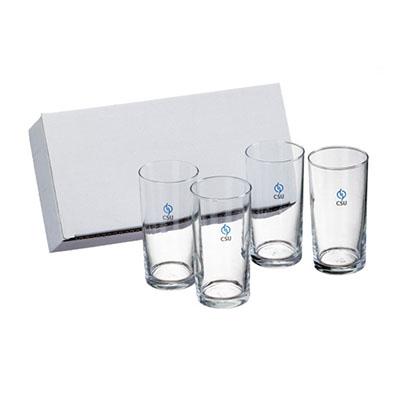 Dumont ABC Porcelanas Personalizadas - Kit com 4 copos reto 300ml de vidro.