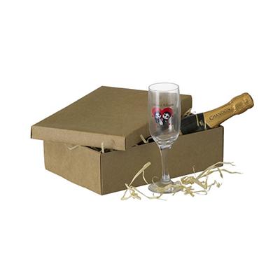 Dumont ABC - Kit personalizado com 1 taça de champanhe e 1 chandon Baby. Brindes personalizados. Qualidade, bom gosto e sofisticação.