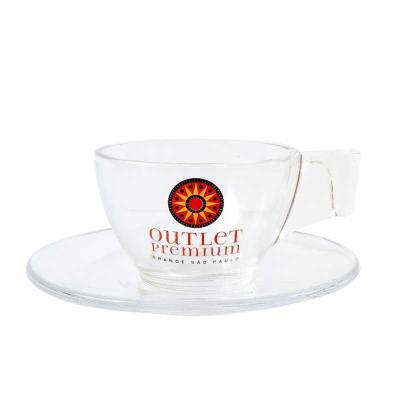 Xícara de vidro para café com pires Astral 90 ml