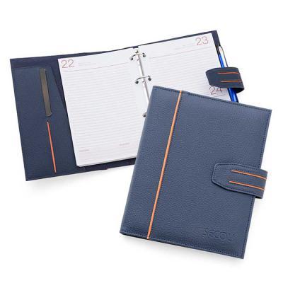 Secoli Brindes - Agenda com detalhe bicolor na capa e lingueta. Sua marca aproximando-se cada dia mais do cliente!