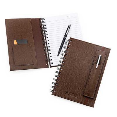Secoli Brindes - Caderno com folhas pautadas e fechamento elástico. Sua marca transmitindo segurança e bom gosto ao cliente!