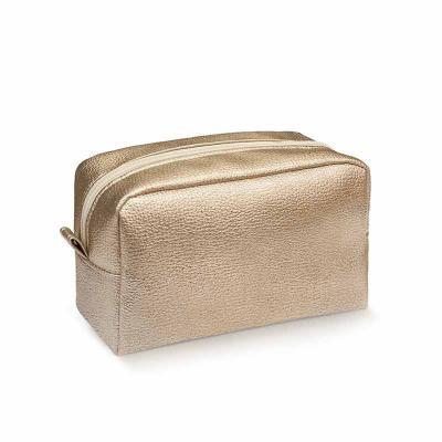 Secoli Brindes - Necessaire em sintético dourado cheia de estilo e charme, ideal para guardar e transportar maquiagens e pequenos itens, mantendo sua marca constanteme...