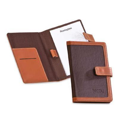 Secoli Brindes - Porta bloco com detalhe bicolor, porta cartão e porta caneta. Encante seus clientes com um brinde de alta qualidade e utilidade!