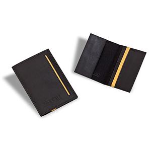 Secoli Brindes - Porta-cartão em sintético, detalhe bicolor na capa e no bolso e 4 bolsos porta cartões.