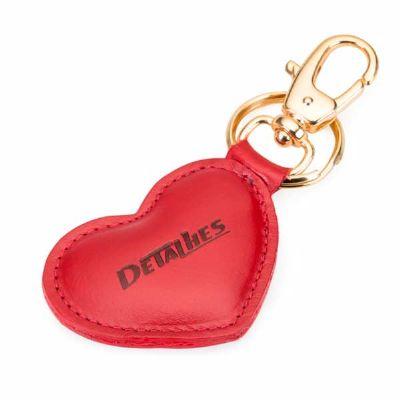 Detalhes Brindes - Chaveiro de couro coração personalizado