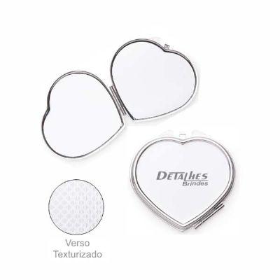 Espelho metal duplo coração com aumento - Detalhes Brindes