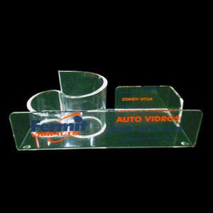 Acrilsid - Porta canetas confeccionado em acrílico cristal com suporte para clips, cartão de visita e papel rascunho. Mantenha seu ambiente de trabalho mais orga...