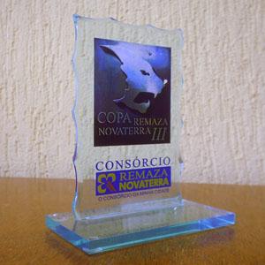 Acrilsid - Troféu confeccionado em acrílico cristal azul com corte especial, base reta e gravação personalizada com ótimo acabamento ideal para sua premiação, tr...