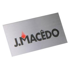 Parceria - Placa confeccionada em aço escovado, com impressão personalizada.