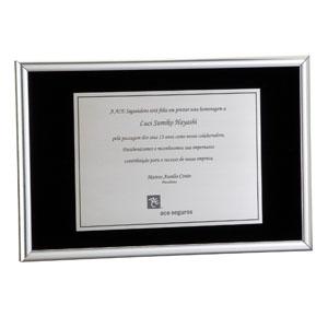 Placa de aço (moldura), com caixa craft e impressão personalizada.
