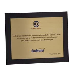 Parceria - Placa de agradecimento em latão com verniz cristal.