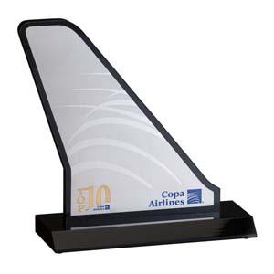 parceria - Troféu de acrílico com placa em aço escovado.