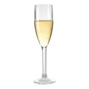 Taça champanhe confeccionada em acrílico. Capacidade 160 ml.