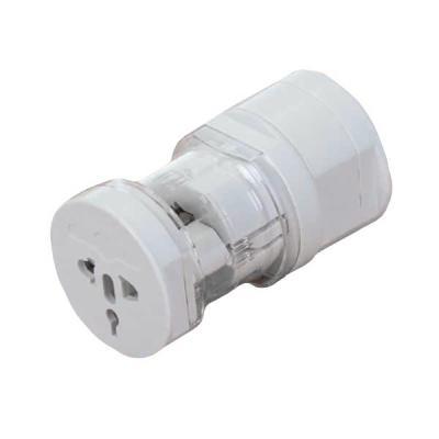 Adaptador universal branco em plástico resistente com detalhe acrílico. Possui plug EU (EUROPA), ...