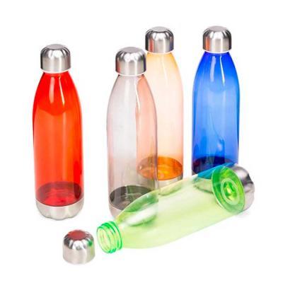 Crazy Ideas - Squeeze plástico 700ml formato garrafa. Corpo transparente colorido, possui tampa e base em alumínio.