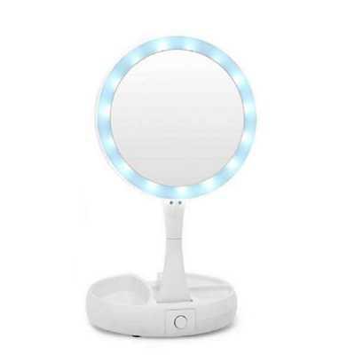 Crazy Ideas - Espelho de aumento 10x com luz de iluminação led de mesa dobrável e articulável para maquiagem camar.