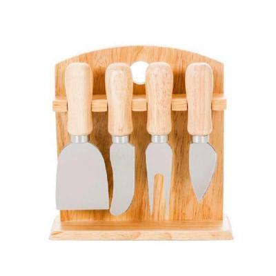 crazy-ideas - Kit queijo 4 peças com suporte de madeira. Possui: faca reta, faca com ponta, garfo e espátula. Suporte possui borrachas anti deslizantes na parte inf...