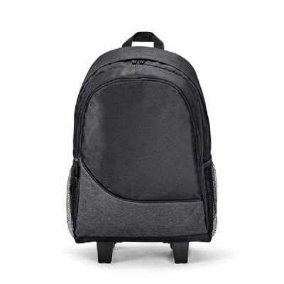 Crazy Ideas - Mochila trolley para notebook. 300D. Com 2 rodas duplas. Compartimento principal forrado e almofadado, com divisória almofadada para notebook até 15.6...