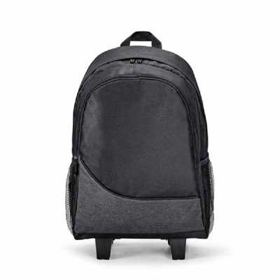 Mochila trolley para notebook. 300D. Com 2 rodas duplas. Compartimento principal forrado e almofa...