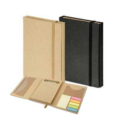 Crazy Ideas - Kit para escritório. Cartão. Com caderno (80 folhas pautadas em papel reciclado), 6 blocos adesivados (25 folhas cada), 1 régua de 12 cm, 1 esferográf...