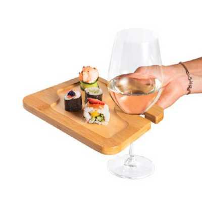 Prato. Bambu. Com suporte para copo. Ideal para servir aperitivos. Fornecido em luva de cartão. Food grade. 200 x 147 x 13 mm | Luva: 160 x 148 x 14 m... - Crazy Ideas
