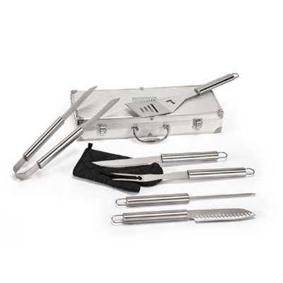 Crazy Ideas - Kit churrasco. Aço inox. Luva de cozinha em poliéster e 6 peças em estojo de alumínio. Food grade. Estojo: 450 x 170 x 80 mm | Placa: 80 x 50 mm.