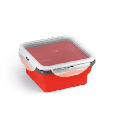 crazy-ideas - Marmita retrátil. Silicone e PP. Com 1 compartimento. Capacidade: 580 ml. Food grade. 138 x 138 x 64 mm | Dobrada: 138 x 138 x 34 mm.